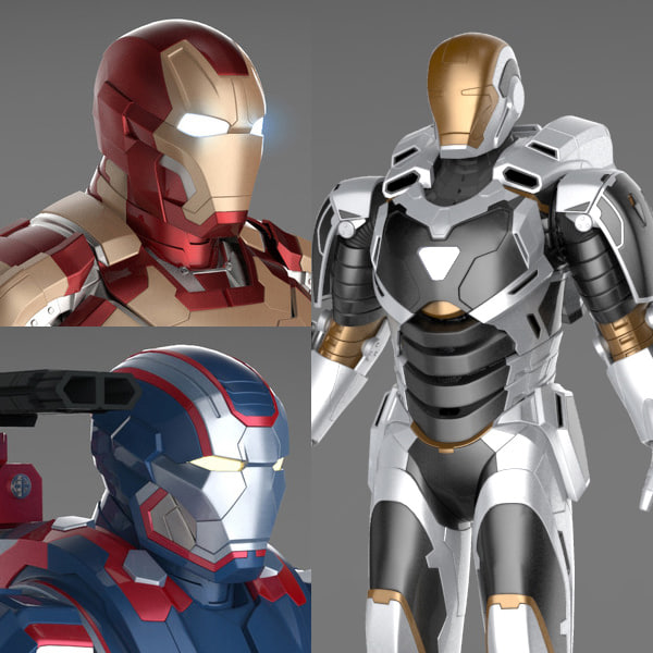 Iron Man 3 Suits - Mark 42 Tony Stark Armor, Patriot Armor and Mark 39 Gemini Armor