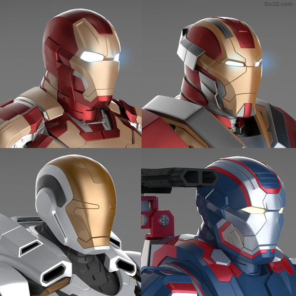 Iron Man 3 Suits - Mark 42 Tony Stark Armor, Patriot Armor, Mark 17 Heartbreaker Armor and Mark 39 Gemini Armor