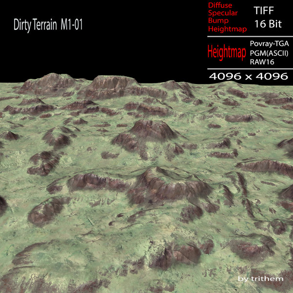 3d dirty terrain m1-01 model