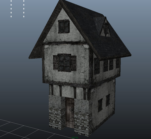 House medieval 3d obj for Cryengine 3 architecture