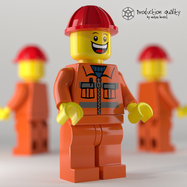 3d model lego construction worker figure - Lego Construction Worker Figure... by vertexhouse