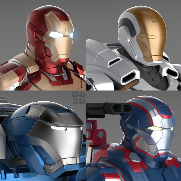 Iron Man 3 Suits - Mark 42 Tony Stark Armor, Patriot Armor, Mark 38 Igor Armor and Mark 39 Gemini Armor