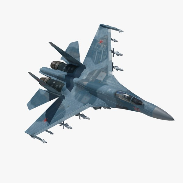 sukhoi flanker fighter aircraft 3d model