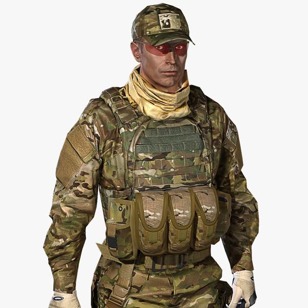 3d vr multicam soldier model