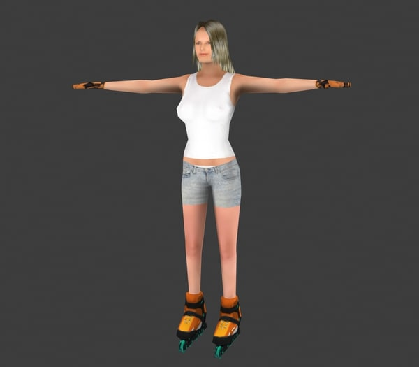 skater skate girl 3d max