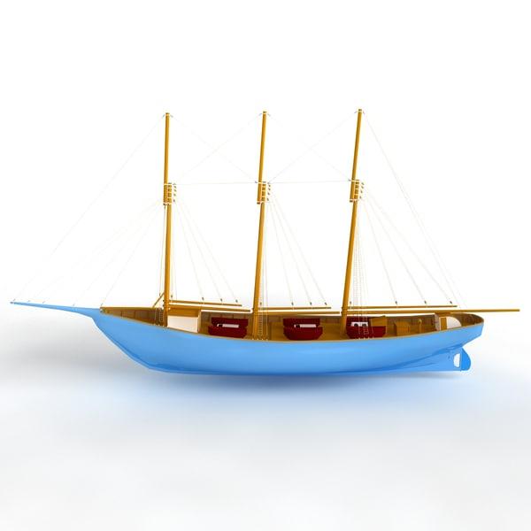 3d boat fishing model