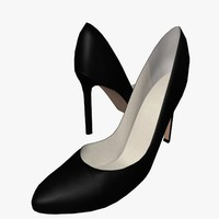 3ds max elegant black heel shoe