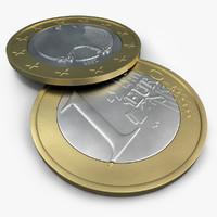 1 euro coin 3d c4d