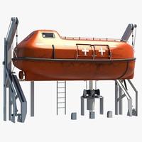 3d lifeboat davit model