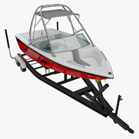 boat trailer motorboat 3d model