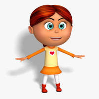 cartoon kid girl red hair 3d model