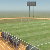 soccer field track games 3d model