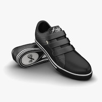 3d model of black sport shoes