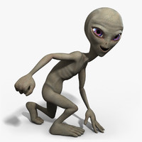 3d grey alien rigged character