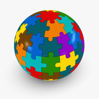 colorful sphere puzzle 3d max