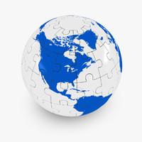 puzzle globe world 3d max
