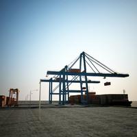 3d container terminal scene
