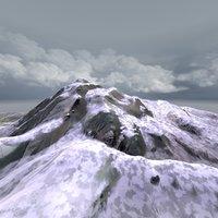 3d snowy mountain landscape snow terrain