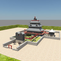 3d japanese castle interior model