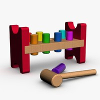 3d hammer bench 8 pegs model