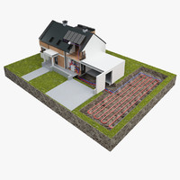 3d model residential heat pump