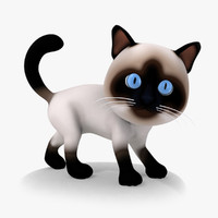 Rigged Cartoon Cat 01 Siamese Kitty