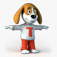3d model theo - cartoon dog