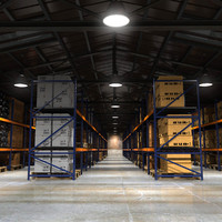 3d max interior old warehouse loaded