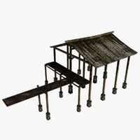 wooden port 3d model