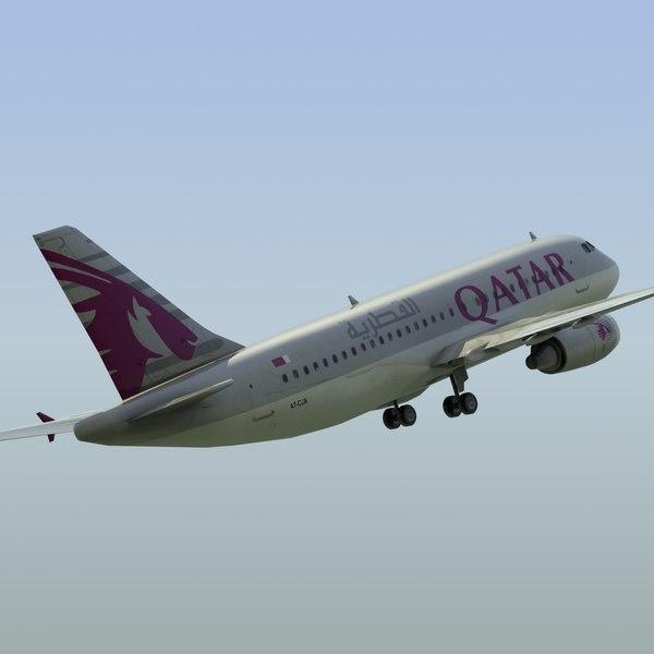 3d airbus a319 qatar model