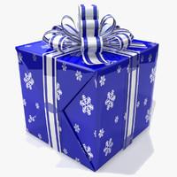 3d model box gift blue