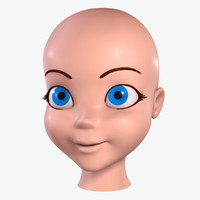 3d cartoon girl - head