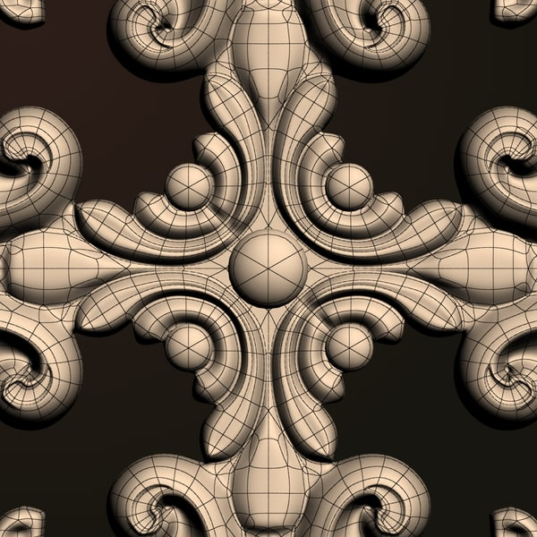 classical ornamental interior wall 3d model - Rosette (fig Om2)... by VizArtOnline