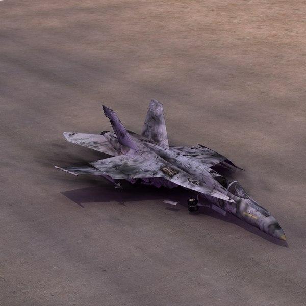 3d wrecked fa18e hornet