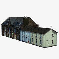 suburbia street block brick house 3d 3ds