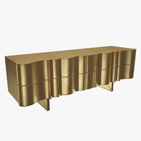 3d golden tv console model