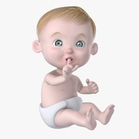 3d model of rigged cartoon baby character