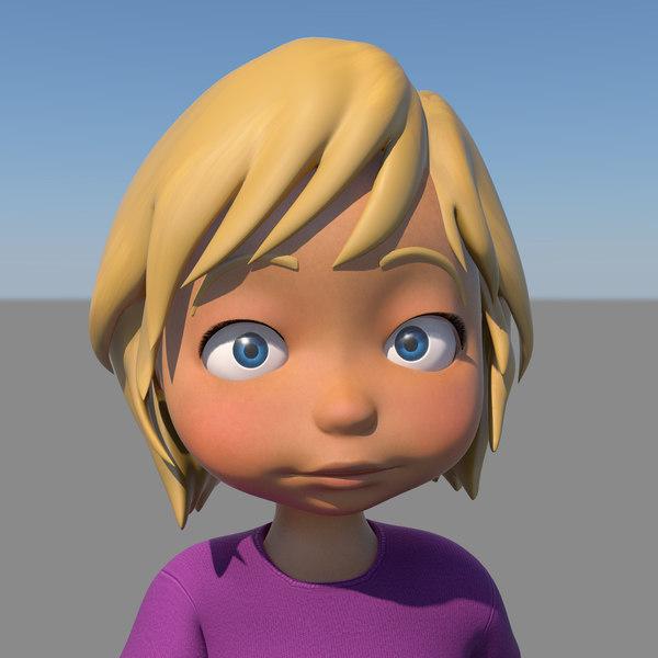 Close Up Characters Cartoon 01 : D model cartoon girl character rigged