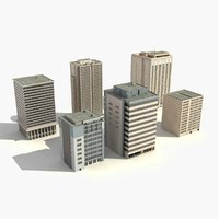 3d model office buildings scene city