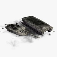 3d 3ds destroyed leopard2a5 battle tank