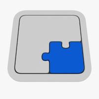 puzzle 2 piece 3d obj