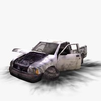 3d model wrecked pickup truck