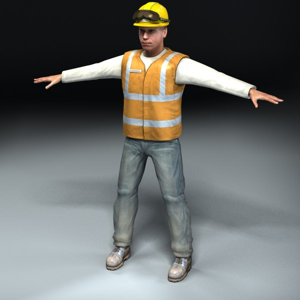 construction worker 3d lwo