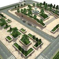 city park scene fbx