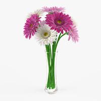 3d vase gerbera flowers