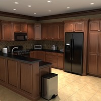 3ds max kitchen scene set