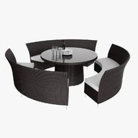 rattan outdoor set 3d model