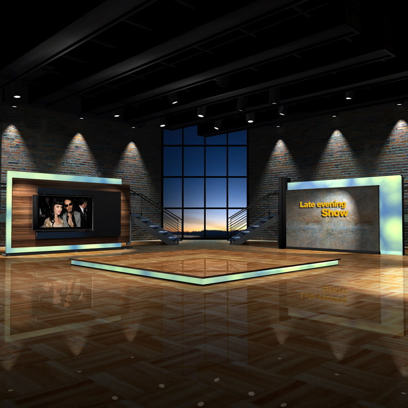 Talk Show Office Interior Design: Maya Virtual Set Shows Evening
