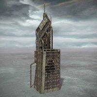 ruined building destroyed 3d model