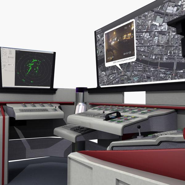3d futuristic control desk model for Futuristic control room
